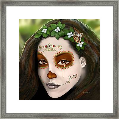 Teary Eyed Day Of The Dead Sugar Skull  Framed Print by Maggie Terlecki