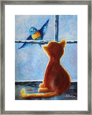 Teasing Bird Framed Print