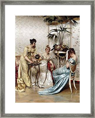 Teatime Tales Framed Print by Joseph Frederic Charles Soulacroix