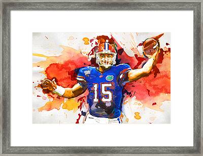 Tebow Splash Td Framed Print by John Farr