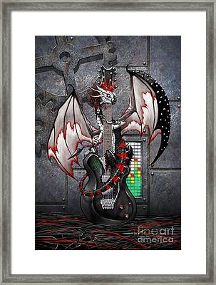 Framed Print featuring the digital art Tech-n-dustrial Music Dragon by Stanley Morrison