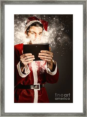 Tech Santa Browsing Online With Magical Tablet Framed Print by Jorgo Photography - Wall Art Gallery