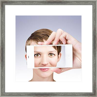 Tech Smart Woman Taking A Photo With Mobile Phone Framed Print