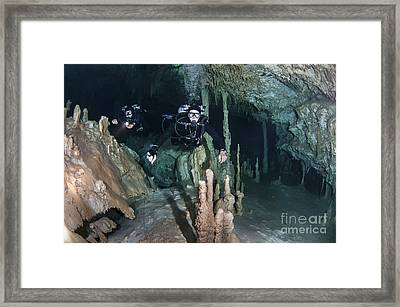 Technical Divers In Dreamgate Cave Framed Print by Karen Doody