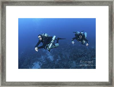 Technical Divers With Equipment Framed Print by Karen Doody