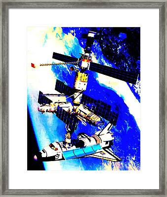 Technical Rendition Of The Space Shuttle Atlantis Docked To The Kristall Module Of The Russian Mir  Framed Print
