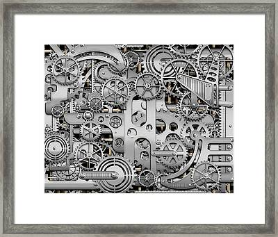 Techno Worlds - Complexity And Complications - Clockwork Silver Framed Print