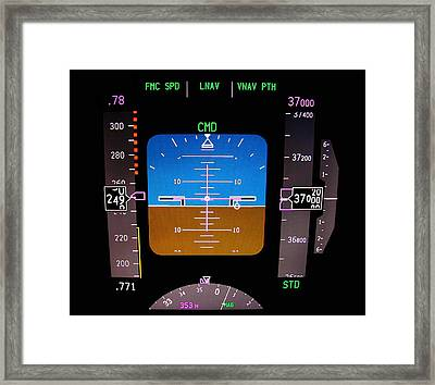 Technology. Aircraft Flight Deck At 37000 Ft. Framed Print by Fernando Barozza