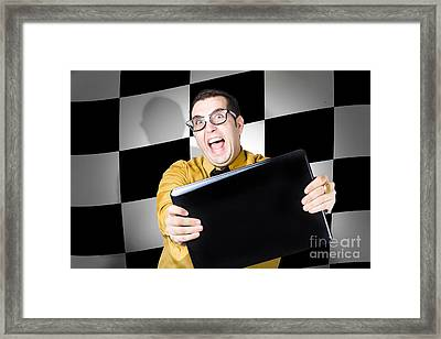 Technology Salesman Selling Laptop Computers Framed Print by Jorgo Photography - Wall Art Gallery
