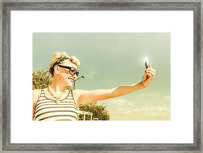 Technology Savy Female Hipster Framed Print