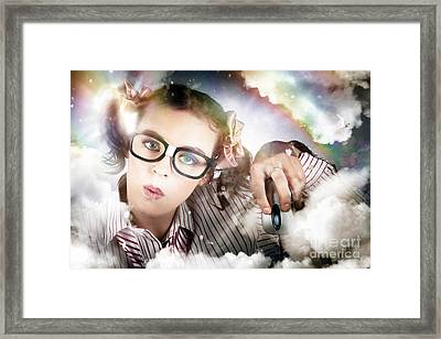 Technology Smart Woman Using Cloud Computing Framed Print by Jorgo Photography - Wall Art Gallery