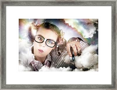 Technology Smart Woman Using Cloud Computing Framed Print