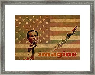 Ted Cruz For President Imagine Speech 2016 Usa Watercolor Portrait On Distressed American Flag Framed Print