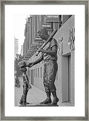 Ted Williams Statue Boston Ma Fenway Park Black And White Framed Print