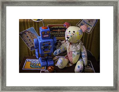 Teddy Bear And Robot Framed Print by Garry Gay