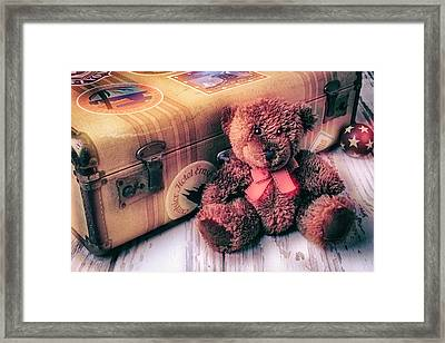 Teddy Bear And Suitcase Framed Print by Garry Gay