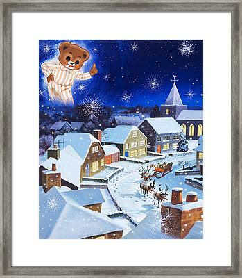Teddy Bear Christmas Card Framed Print by English School