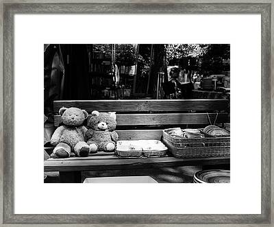 Teddy Bear Lovers On The Bench Framed Print