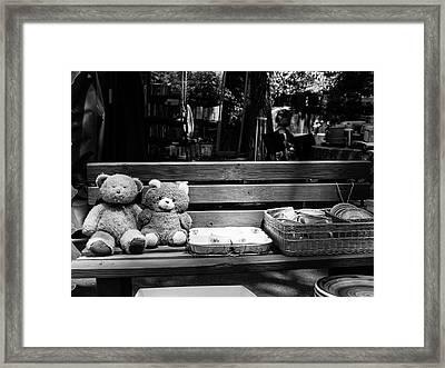 Teddy Bear Lovers On The Bench Framed Print by Yoel Koskas