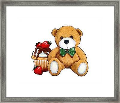 Teddy Bear Party, Bear With Cupcake Framed Print