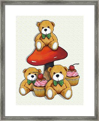Teddy Bear Party With Toadstool And Cupcakes Framed Print