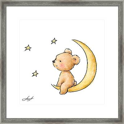 Teddy Bear Watching The Stars  Framed Print by Anna Abramska