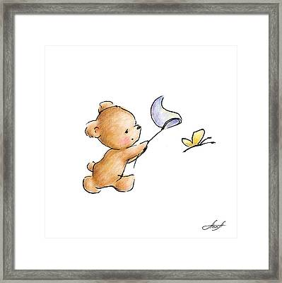 Teddy Bear With A Butterfly Framed Print by Anna Abramska