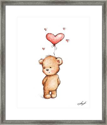 Teddy Bear With Heart Balloon Framed Print by Anna Abramska