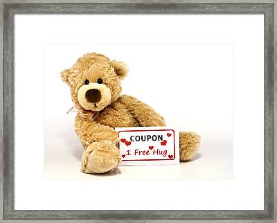 Teddy Bear With Hug Coupon Framed Print by Blink Images