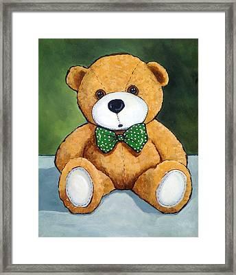 Teddy Bear With Polka Dotted Bow Tie Framed Print