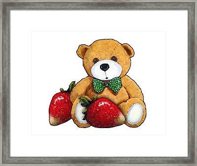 Teddy Bear With Strawberries Framed Print