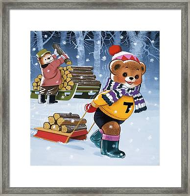 Teddy Bears Collecting Wood Framed Print by William Francis Phillipps