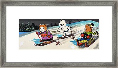 Teddy Bears Skiing Framed Print by William Francis Phillipps