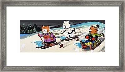 Teddy Bears Skiing Framed Print