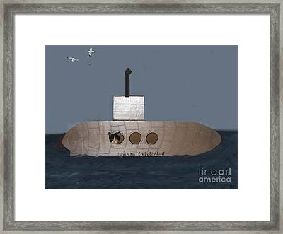 Teddy In Submarine Framed Print by Reb Frost