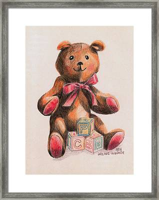 Teddy With Blocks Framed Print