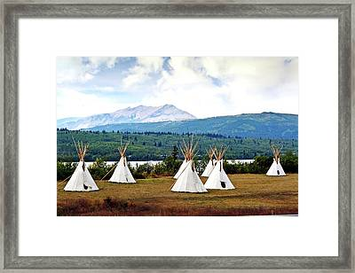 Tee Pee At Glacier Framed Print by Marty Koch