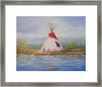Tee Pee Framed Print by Maxine Ouellet