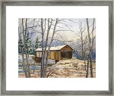 Teegarden Covered Bridge In Winter Framed Print by Lois Mountz