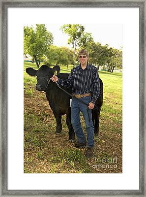 Teen And Black Angus Steer Framed Print by Inga Spence
