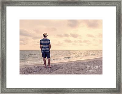 Teen Boy On Beach Framed Print by Edward Fielding