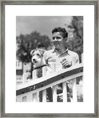 Teen Boy With Fox Terrier, C.1930s Framed Print by H. Armstrong Roberts/ClassicStock