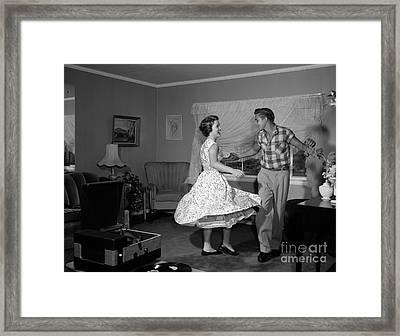 Teen Couple Dancing, C.1950-60s Framed Print by Debrocke/ClassicStock