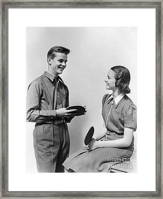 Teen Couple With Table Tennis Paddles Framed Print