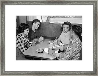 Teen Couples At A Diner, C.1950s Framed Print by H. Armstrong Roberts/ClassicStock
