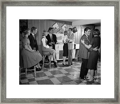 Teen Couples Dancing At A Party Framed Print by H. Armstrong Roberts/ClassicStock