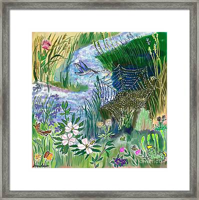 Teen Drawing -- Hummingbird Collecting Silk Framed Print by Dawn Senior-Trask