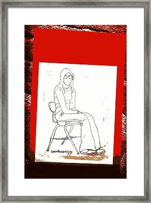 Teen Girl In School Chair Framed Print