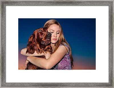 Teen Girl Loving Irish Setter Dog Framed Print by Debi Bishop