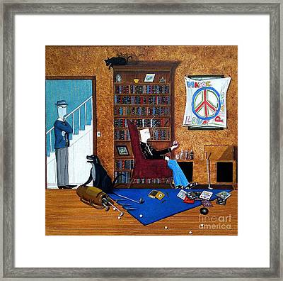 Teen Sitting In Chair Enjoying A Brandy In Father's Den Framed Print by John Lyes